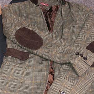 XS green plaid blazer with brown corduroy elbow